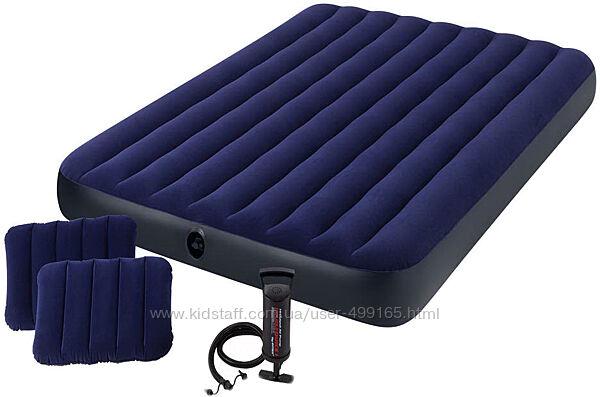 Двухместный надувной матрас Intex 64765/68765 ручной насос и 2 подушки