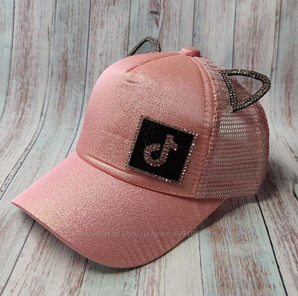 Детская кепка бейсболка для девочки 48-52р. ушки tik tok розовая