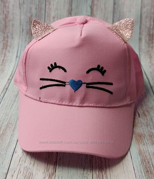 Детская летняя кепка бейсболка для девочки 50-52р. кошка розовая
