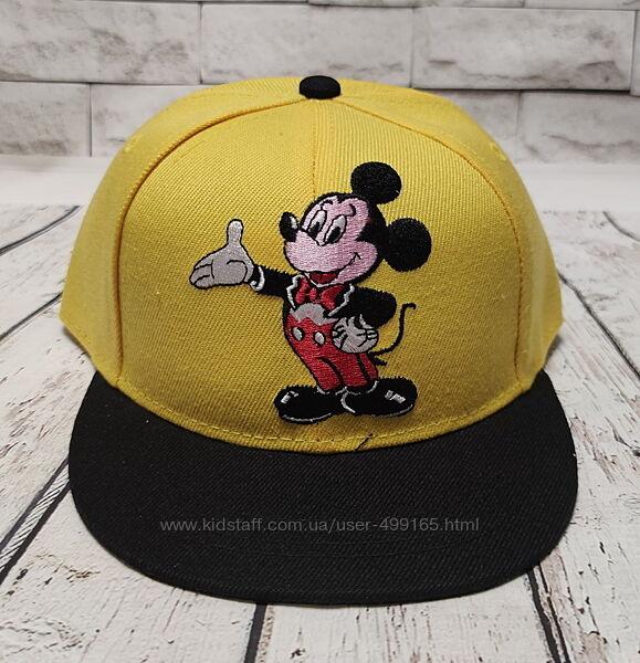 Детская кепка бейсболка микки маус 52р. желтая