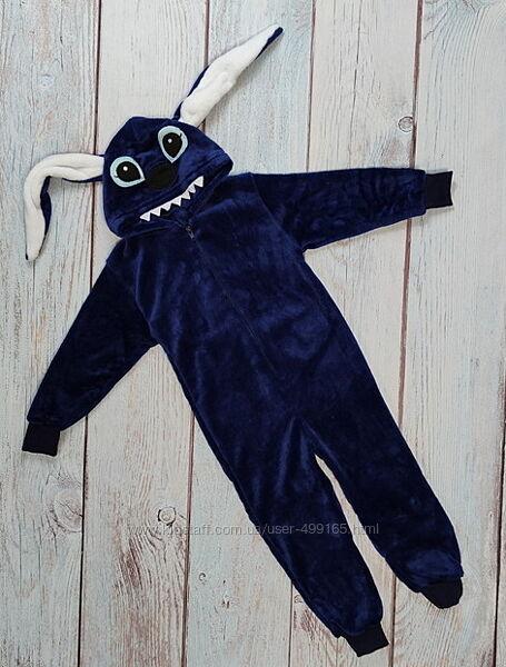 Детский кигуруми кенгуру пижама для мальчика 6-9 лет стич синий