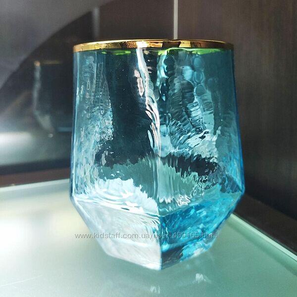 Стакан для виски и воды DS Turquoise Бирюзовый с каймой 450 мл
