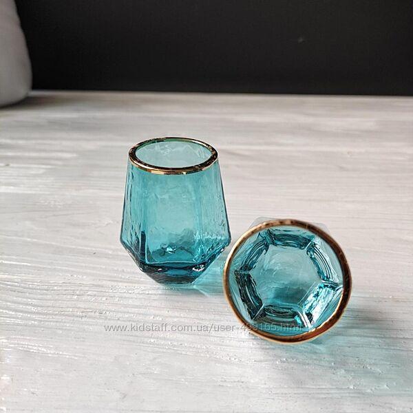Набор рюмок с гранями DS Turquoise Бирюзовый с каймой 55 мл 6 шт