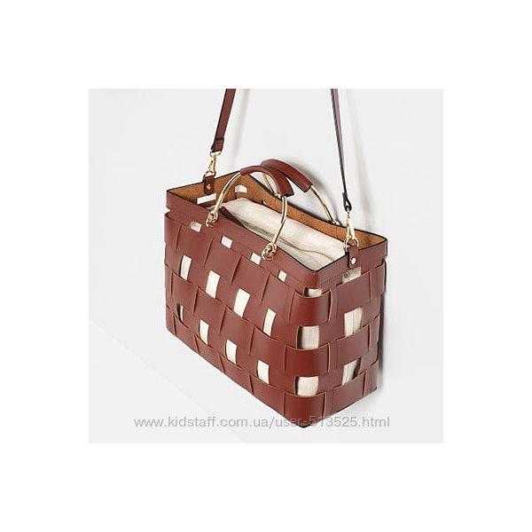 Коричневая кожаная сумка из плетеной кожи Zara basket tote