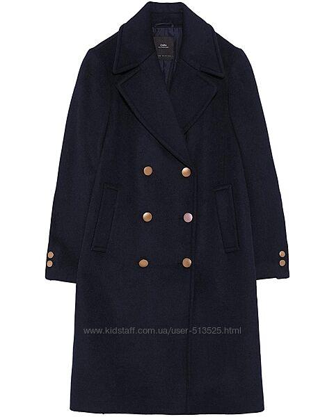 Шерстяное двубортное пальто Zara