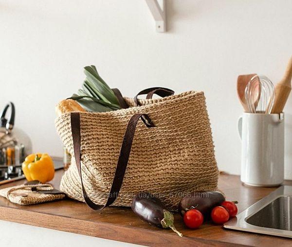 сумка из джута, сумка шопер, летняя, пляжная сумка