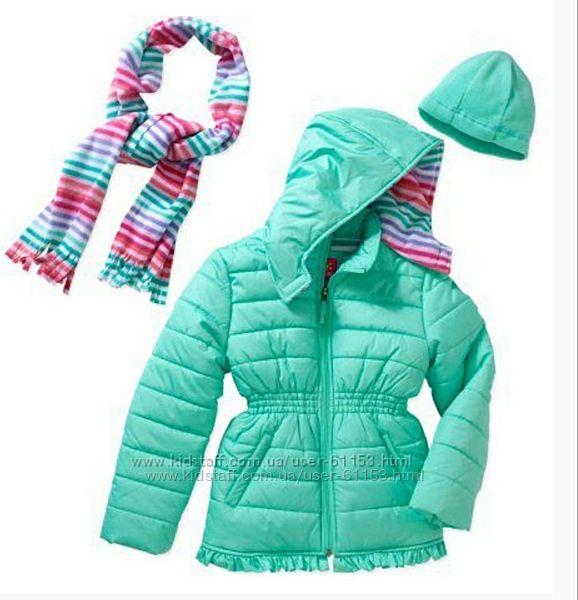 Зимняя куртка Pink Platinum, шарф и шапка в комплекте.