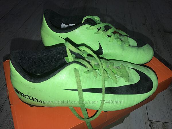 Футбольные бутсы  Nike mercurial оригин р 3 UK  размер 35,5 маломерят