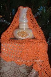 Ажурный шерстяной шарф-шаль