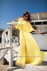 Шикарное шифоновое платье в пол открытые плечи новые цвета