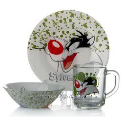 Набор детской посуды Сильвестр, Бакс Бани, Твити из 3 предметов Pasabahce