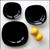 Тарелки чёрные набор 6 шт, 12 шт