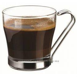 Чашка стеклянная для глинтвейна, чая или кофе с металлической ручкой  2 шт.