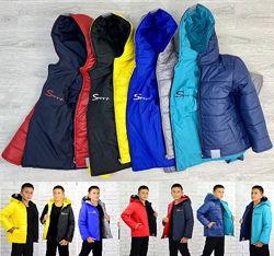 Куртка 104-146 весна/осень 3 цвета, двухсторонняя Украина фабрика, мальчик.