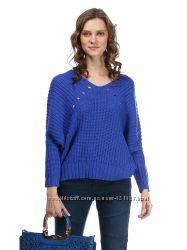 Таусинный цвет синий сине фиолетовый  свободный  джемпер в крупную вязку