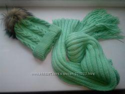 мятная салатовая зеленая шапка плюс  мятный  шарф