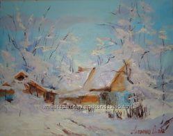 Картина на холсте маслом Зима
