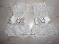 Нарядные ажурные перчатки-митенки для девочек Молочный-беж