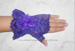 Нарядные ажурные перчатки-митенки для девочек Сиренево-фиолет