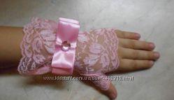 Нарядные ажурные перчатки-митенки для девочек Розово-голубые