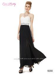 Вечернее бело-черное платье расшитое камнями.