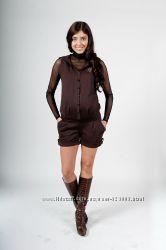 Полукомбинезон для беременных, цвет коричневый, артикул 528