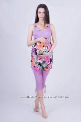Костюм для беременных капри  майка, цвет сиреневый, артикул 482