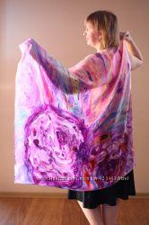 шарфы, палантины, натуральный шелк, батик
