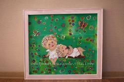 интерьерные картины на шелке для детской комнаты