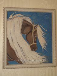 панно  Белогривая лошадка, батик, символ 2014 года