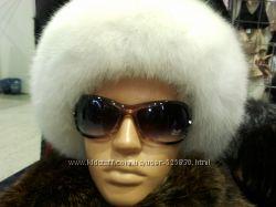 шапка  монголка из  белого  песца