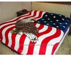 Флисовое покрывало флаг США с орлом
