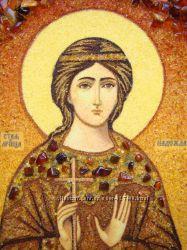 Икона из янтаря Святая мученица Надежда рукописная