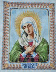 Икона вышитая мелким крестом