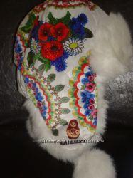 Зимняя шапка ушанка мех, стразы