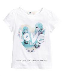Футболочки для девочек H&M цвета размеры от 1, 5 до 10 лет