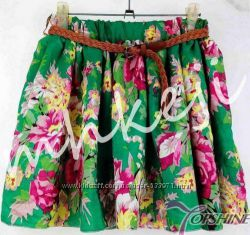 модная шифоновая синяя зеленая мини юбка в цветок