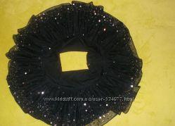 очень красивая и игривая  чёрная юбка в пайетках мини подъюбник сонцеклёш