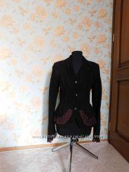 Куртка, замша, коричневая, пиджак с кружевом, м