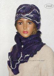 Шапка и шарф из шерсти. Валяный комплект, ручная работа.