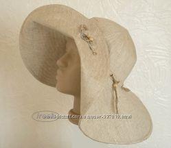 Летняя широкополая шляпа из льна