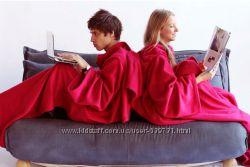 Плед одеяло с рукавами, красный