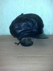 Зимняя кепка-шапка, нат. кожа