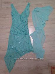 Вечернее платье, бирюзовое, 38 р,  с паетками