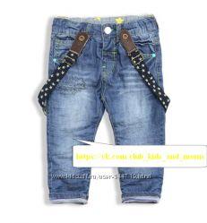 Крутые джинсы с подтяжками на трикотажной подкладке ZansBaby