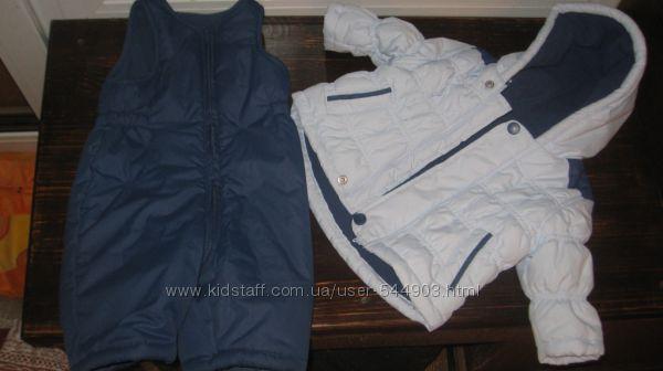 Брендовый тёплый комбинезон и курточка Mothercare