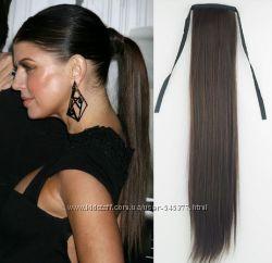 натуральные волосы на заколках , хвосты