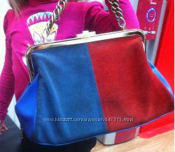 Кожаная сумка синяя с красным с miraton