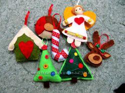 елочные игрушки ручной работы из фетра или ткани