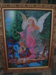 картина вишита бісером Ангел охоронець